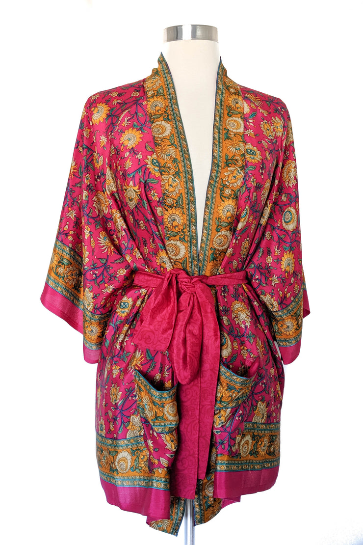 Hot Pink Garden Floral Robe, Short