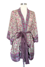 Romantic Cream Floral Robe, Short