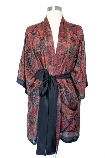 Rich Black Fall Paisley Robe, Short