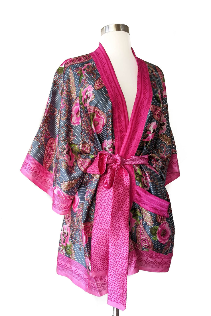 Pink Polk Dot Floral Lounge Robe, Short