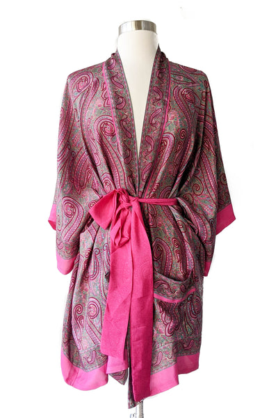 Romantic Pink Paisley Robe, Short