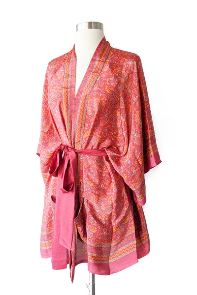 Salmon Boho Loungewear Robe, Short