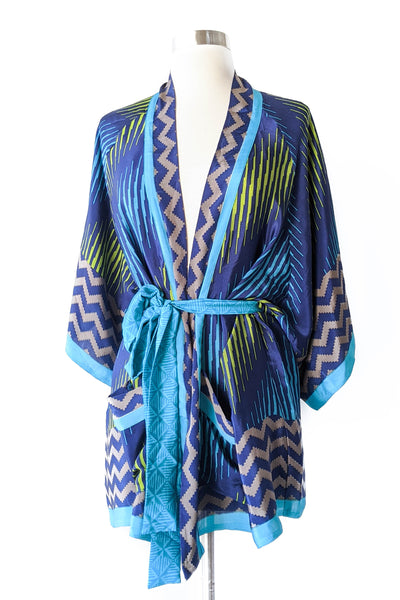 Neon Striped Zig Zag Robe, Short