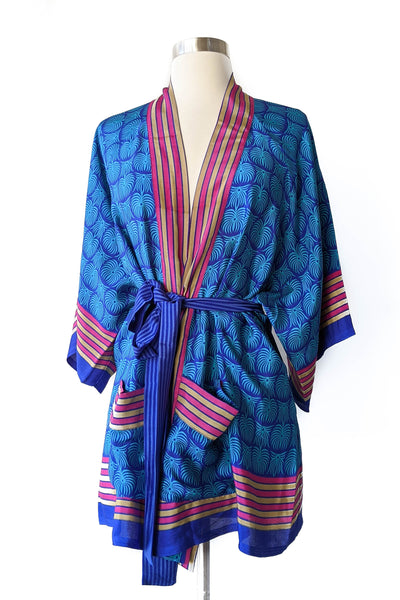Tropical Blue Belted Robe, Short