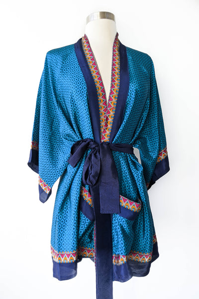 Peaock Blue Tribal Robe, Short