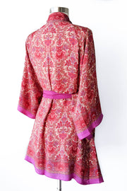 Romantic Pink Silky Wrap Robe, Short