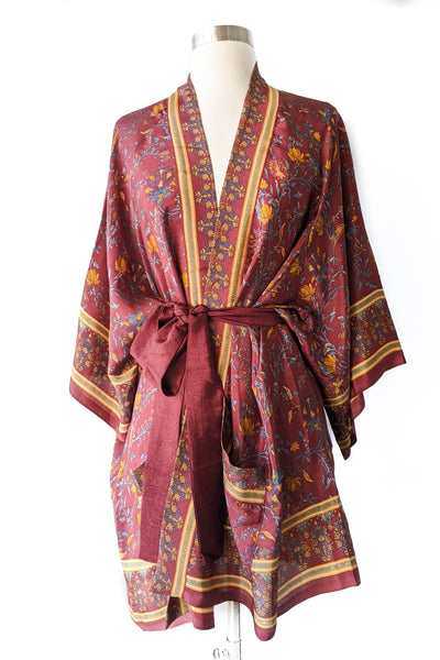 Burgundy Gold Floral Robe, Short