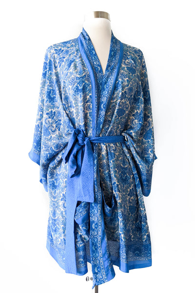 Blue White Traditional English Robe, Short