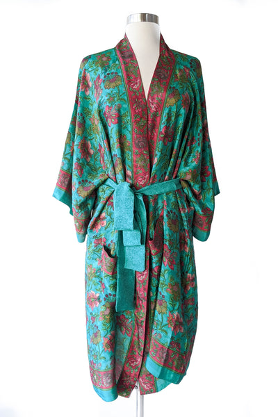 Christmas Green Floral Boho Robe