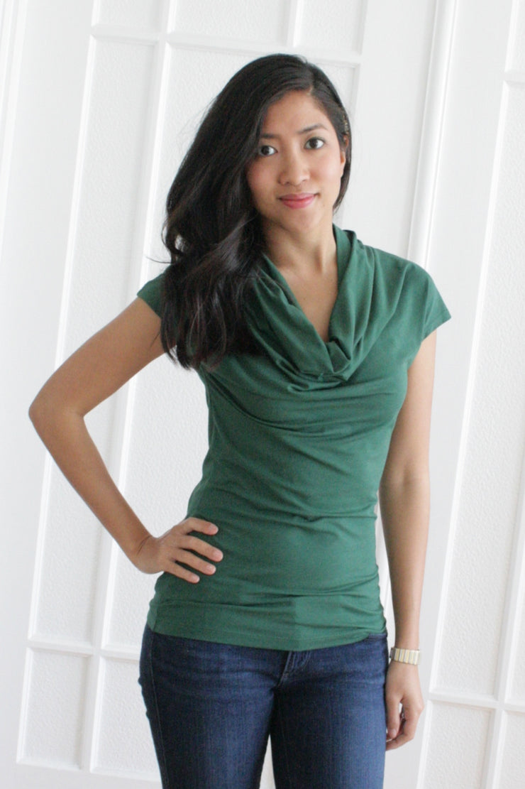 Organic Cotton Cowl Neck - Green