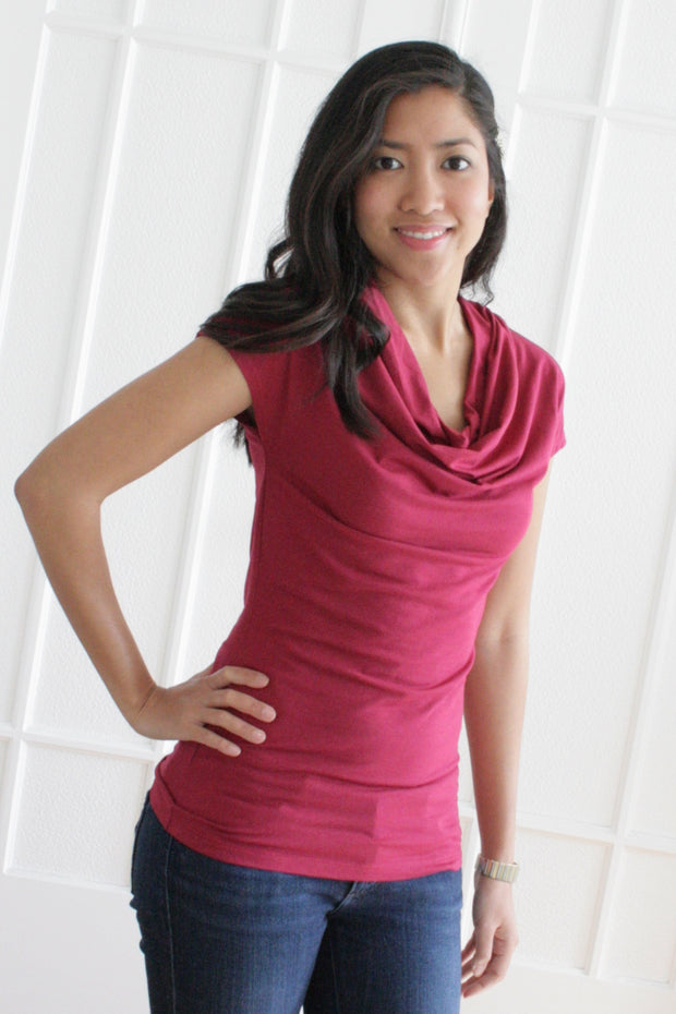 Organic Cotton Cowl Neck - Blackberry