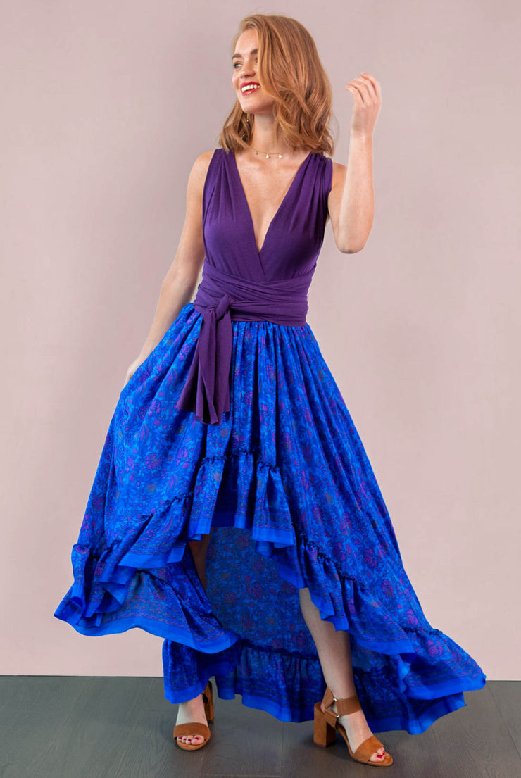 Maria Hi Low Maxi Skirt - Blue