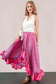 Maria Hi Low Maxi Skirt Pink