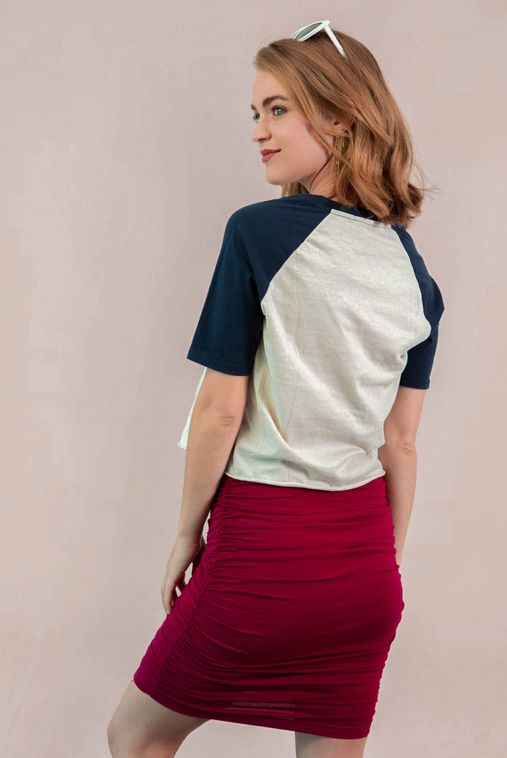 Ashton Shirred Pencil Skirt - Red