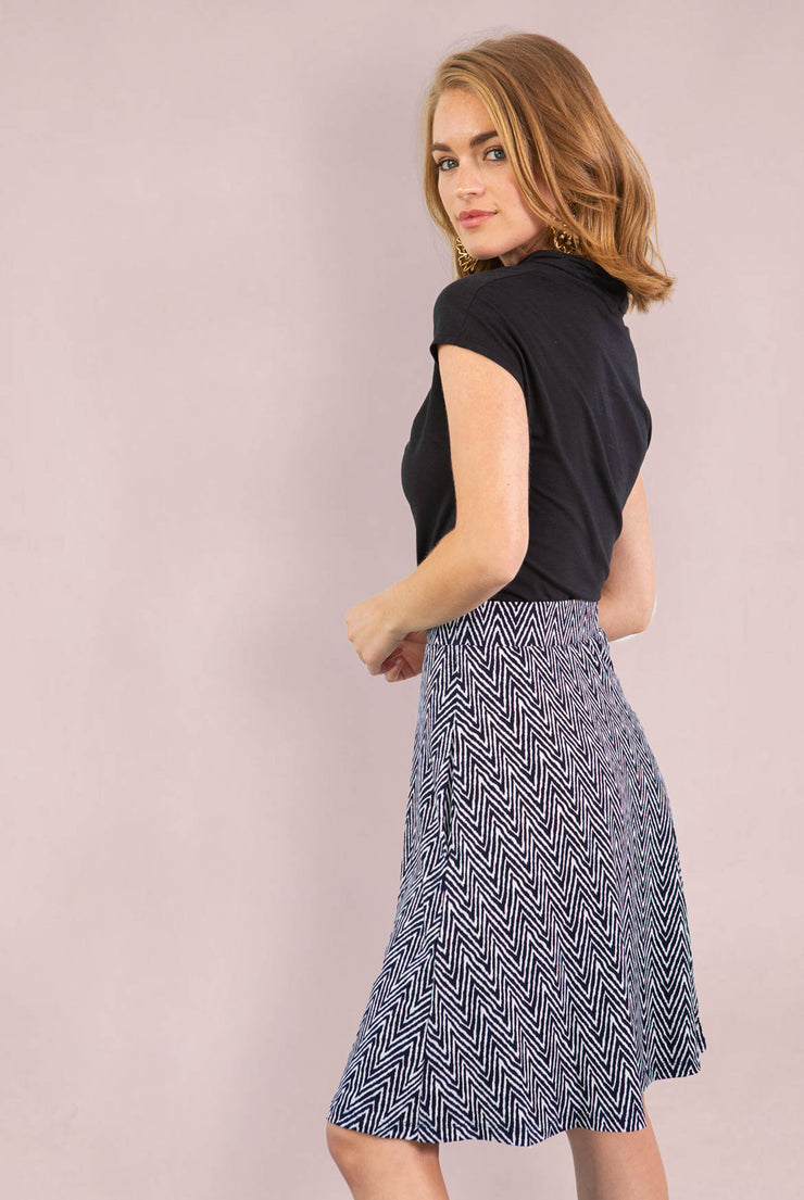 Chevron Striped Aline Skirt