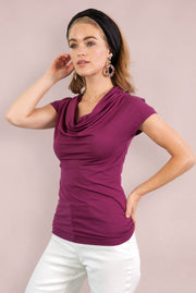 Organic Cotton Cowl Neck - Magenta