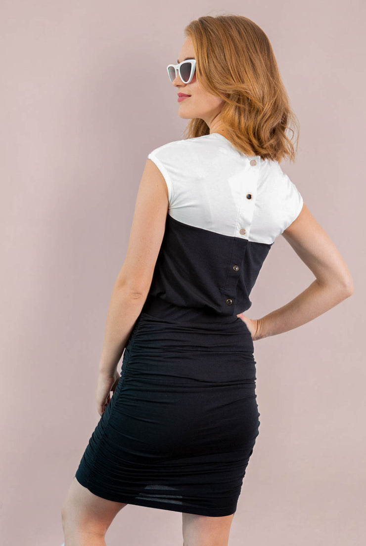 Chloe Back Button Up - White Black