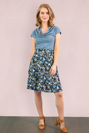 Blue Green Floral Aline Skirt