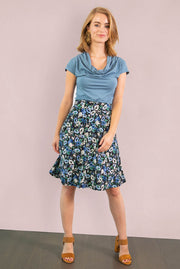 Purple Floral Jersey Aline Skirt
