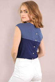 Chloe Back Button Up - Blue Indigo Navy