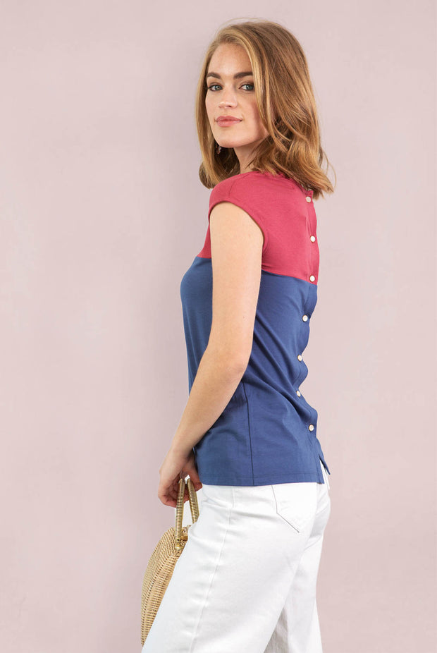 Chloe Back Button Up - Earth Red Blue Indigo