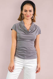 Organic Cotton Cowl Neck - Light Grey