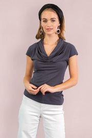 Organic Cotton Cowl Neck - Dark Grey