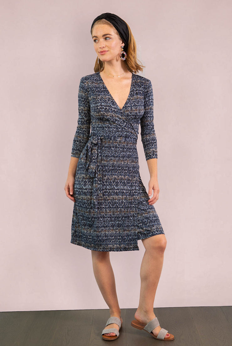 3/4 Sleeve Print Wrap Dress  - Stone