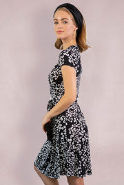 Flared Floral Print Wrap Dress