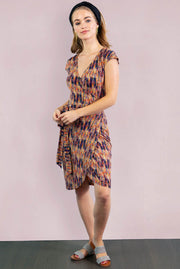 Tulip Short Sleeve Wrap Dress - Morocco