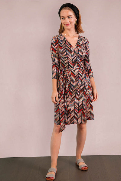 3/4 Sleeve Print Wrap Dress  - Mod