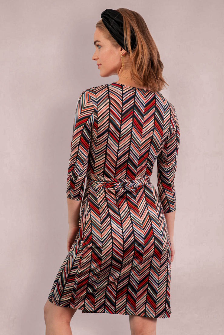 3/4 Sleeve Print Wrap Dress  - Chevron