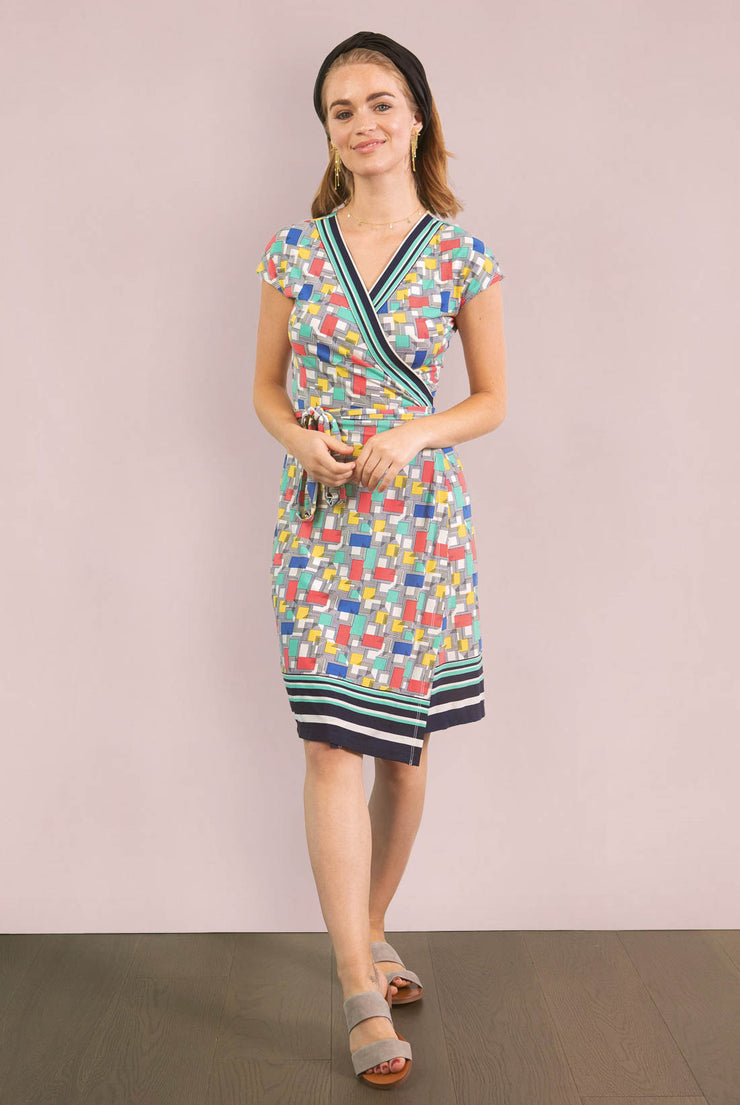 Geometric Primary Wrap Dress
