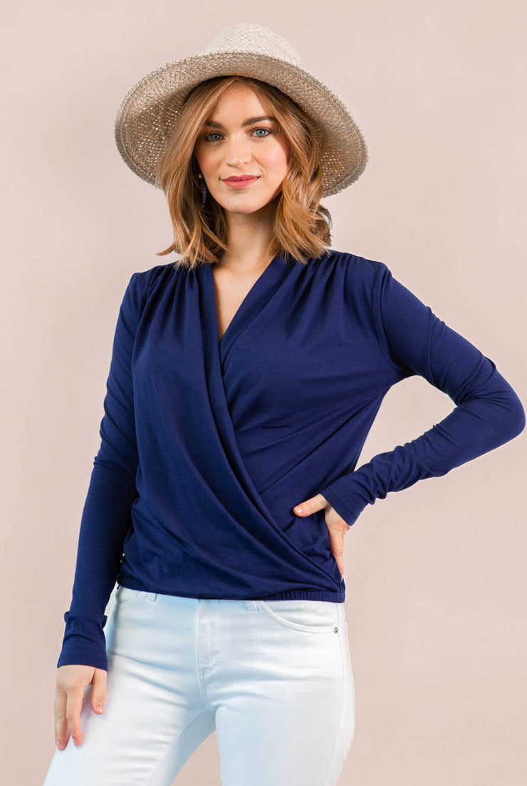 Bamboo Long Sleeve V Neck Cowl Wrap - Navy
