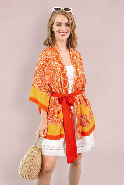 Orange Paisley Fire Robe, Short