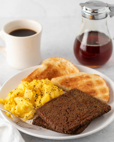scrapple with toast, eggs, and coffee