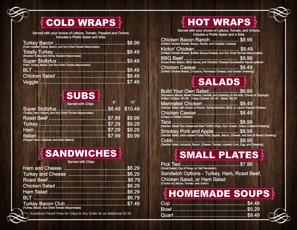 Stoltzfus Meats & Deli - Amos' Place restaurant lunch menu page 2 - cold wraps, subs, and sandwiches
