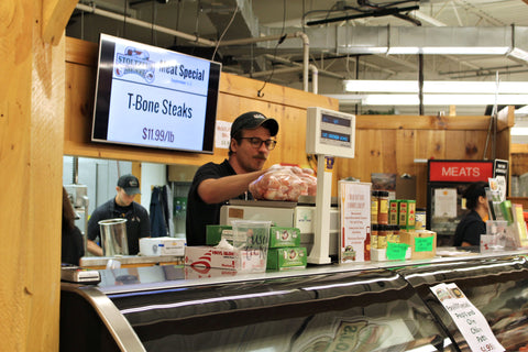 Meat counter at Stoltzfus Meats
