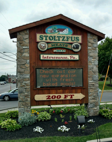 Stoltzfus Meats sign out front of Intercourse, PA