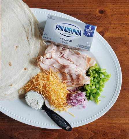 Turkey Ranch Roll-ups ingredients on a plate ready for assembly