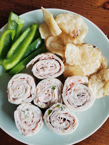 completed Turkey Ranch Roll-ups plate