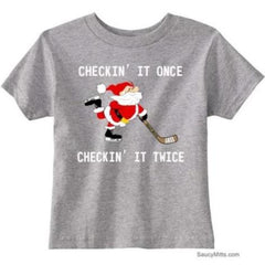 Checking It Hockey Santa Toddler Shirt heather gray
