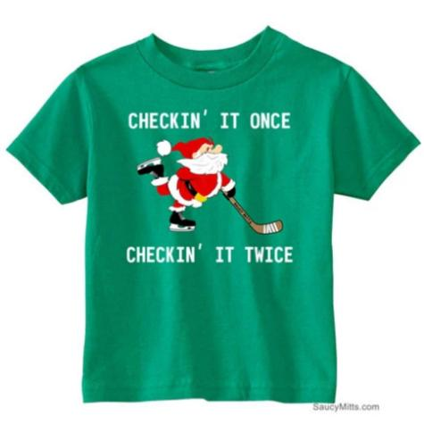 Checking It Hockey Santa Toddler Shirt kelly green