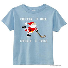 Checking It Hockey Santa Toddler Shirt light blue