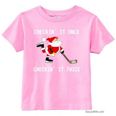 Checking It Hockey Santa Toddler Shirt light pink