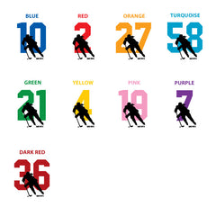 custom hockey number color chart women's