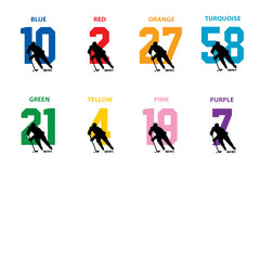 hockey number color chart