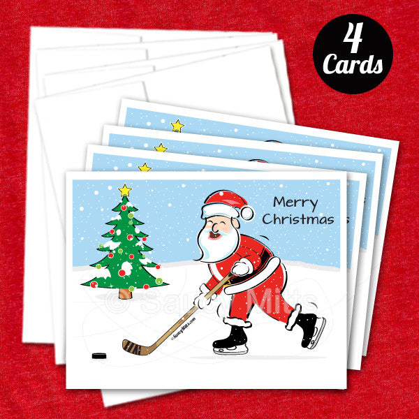 4 hockey santa christmas cards