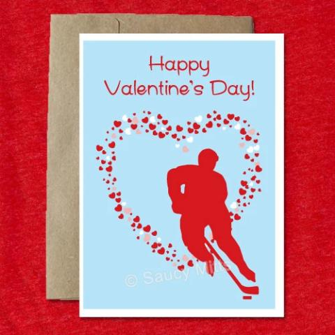 Hockey Valentine's Day Card Heart - Male