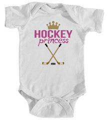 baby hockey princess infant bodysuit white